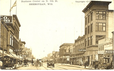 historical photo of downtown sheboygan