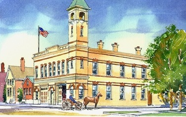 Vega watercolor of fire station